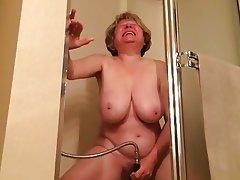 Granny, Masturbation, Mature, Orgasm, Shower